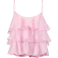 Pierre Balmain Tiered devoré silk-blend top ($330) ❤ liked on Polyvore featuring tops, crop tops, shirts, baby pink, cut loose tops, loose fitting crop top, pink top, loose fit tops and baby pink crop top