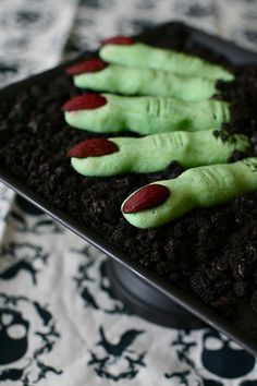 Spooky Witches' Finger Cookies Recipe ~ fun for Halloween... spread Oreo crumbs over the serving platter to look like dirt and positioned the fingers as though they were protruding from it., or serve a finger or two sticking out of dirt pudding