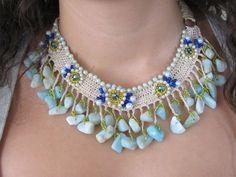 Handmade by Kezi *Cream cotton crochet necklace with semi precious stones, faux pearls...