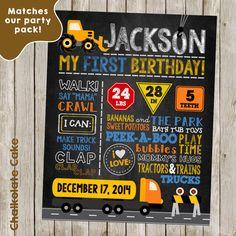 Construction First Birthday Chalkboard Sign by ChalkolateCake Harry Birthday, One Year Birthday, Birthday Board, 4th Birthday Parties, Birthday Celebration, Boy Birthday, Birthday Ideas, First Birthday Posters, Twin First Birthday