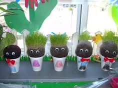 Homemade Chia Pets made with old pantyhose and a few other items.