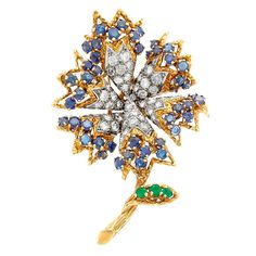 Gold, Diamond, Sapphire and Emerald Flower Clip-Brooch, Tiffany & Co.  43 round diamonds ap. 2.25 cts., signed Tiffany, ap. 14 dwts.