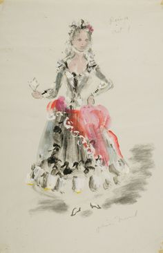 Oliver Messel – Costume design for Rosina in The Barber of Seville   Victoria and Albert Museum
