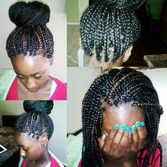 Box braids with color in a bun #box #braids #color #bun