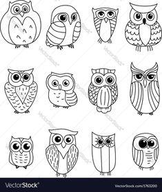 Cartoon owls and owlets - animals characters owl crafts, doodle art, bird doodle, Doodles, Owl Crafts, Owl Patterns, Pebble Art, Stone Art, Stone Painting, Pebble Painting, Rock Painting, Doodle Art