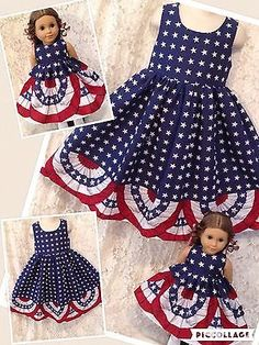 CUSTOM-Patriotic-Flag-Bunting-Matching-dress-American-Girl-Bitty-My-Twinn