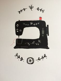 Sewing machine #hannahmatthewsdesign illustration screen print