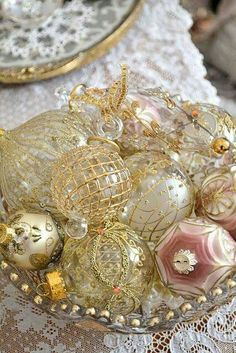 Lovely Gold and White and Pink and White Christmas Ornaments!!! Bebe'!!! So pretty!!!