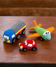 Happy Little Car, Plane, Truck, wow, hard to find boyish toys! Free from Red Heart #crochettoys