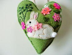Bunny+Felt+Heart+Ornament+/+Rabbit+Felt+Heart+by+heartfeltwhimsy