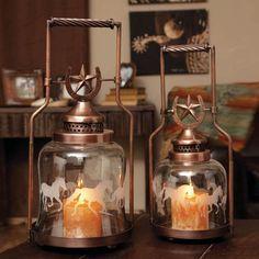 (EV8LAG64009) Set of 2 Glass & Metal Horseshoe and Galloping Horse Lanterns