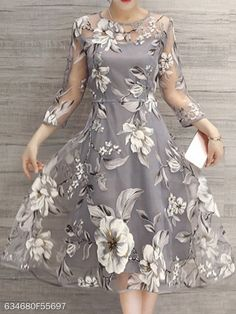 Buy Elegant Dress For Women at JustFashionNow. Online Shopping JustFashionNow Plus Size Gray Women Elegant Dress A-line Daytime Dress Sleeve Elegant Printed Floral Dress, The Best Daytime Elegant Dress. Discover unique designers fashion at JustFashion Elegant Midi Dresses, Pretty Dresses, Beautiful Dresses, Casual Dresses, Fashion Dresses, Floral Dresses, Cheap Dresses, Women's Fashion, Fashion Site