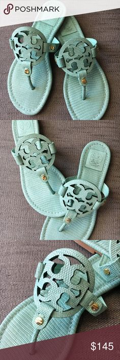 Tory Burch Miller Sandal in Mint sz6.5 Gorgeous mint color, rare find, in great condition. Photo is shot with natural window light and no filter. Tory Burch Shoes Sandals