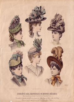 Victorian fashion print for bonnet styles. Victorian Hats, Victorian Costume, Victorian Design, Victorian Fashion, Vintage Fashion, Historical Costume, Historical Clothing, 1900 Clothing, Golf Clothing