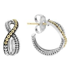 Women's Lagos Infinity Double Twist Hoop Earrings (2955 MAD) ❤ liked on Polyvore featuring jewelry, earrings, infinity earrings, beaded earrings, beaded hoop earrings, twist earrings and holiday earrings