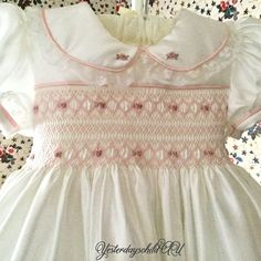 Romantic Old Fashioned Vintage Style Smocked Baby Dress Smocking Baby, Smocking Patterns, Dress Patterns, Smocking Plates, Sewing Patterns, Girls Smocked Dresses, Little Girl Dresses, Smock Dress, Dress Sash