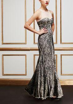 Halston Heritage Sheer Yoke Overlay Gown