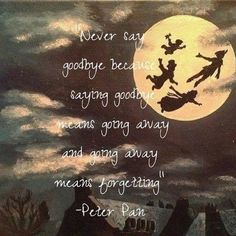 """Never say goodbye because saying goodbye means going away and going away means forgetting."" Peter Pan"