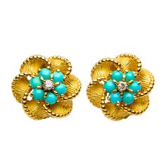 """Tiffany & Co. Turquoise Diamond Earrings 