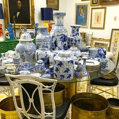 And The 2016 Color Of The Year Is... - laurel home | AWESOME display of blue and white chinoiserie porcelains from Parker-Kennedy