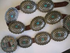 Old Vintage NATIVE AMERICAN 1930s CONCHO Concha BELT w/ Turquoise, INGOT or COIN SILVER.  TurquoiseKachina, $1899.00