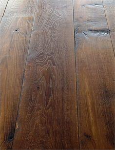 Antique Heart Pine Flooring Shown With A Dark Stain