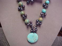 Hand made necklace set with Turquoise and peacock by designer2