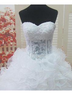 A-line Court Train Wedding Dress -Sweetheart Lace - USD $ 249.99