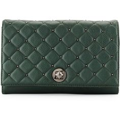 Neiman Marcus Quilted Stud Clutch Bag ($49) ❤ liked on Polyvore featuring bags, handbags, clutches, emerald gr, green purse, green clutches, green handbags, chain purse and quilted chain handbags
