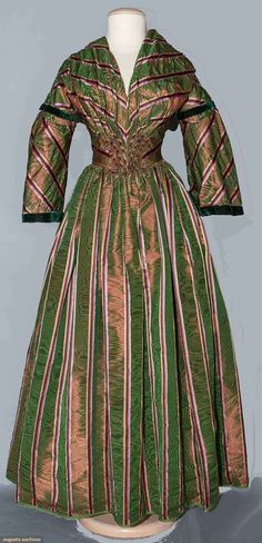 Purple & Green changeable silk dress, 1840s, sleeves modified in 1850s, Augusta Auctions