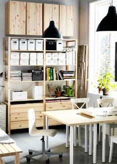 ikea ivar- could always add cabinets on top for additional space