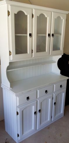 White Vintage Kitchen Hutch Cabinet. $750.00, via Etsy.