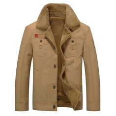 Plus Size Winter British Style Outdoor Thicken Warm Washed Turn-Down Collar Jacket for Men