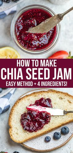 How to Make Chia Seed Jam (Healthy & Easy!) – From My Bowl Skip the refined sugars and make your own healthy Chia Seed Jam using only 4 basic ingredients! It's perfect on toast, in oatmeal, on sandwiches, and more. Jam Recipes, Gourmet Recipes, Whole Food Recipes, Vegetarian Recipes, Dessert Recipes, Cooking Recipes, Vegan Meals, Diet Recipes, Juice Recipes