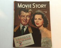 Movie Story Magazine November 1945 - Cover Hedy Lamarr and Robert Walker - Vintage Movie Magazine - Inside Gene Tierney & Robert Montgomery by BagBagSydVintage on Etsy