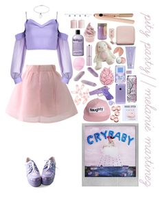 """""""//Pity Party - Melanie Martinez\\"""" by holographicbubble ❤ liked on Polyvore featuring Tai, Chicwish, Polaroid, Essie, Zara Home, Bobbi Brown Cosmetics, Kate Somerville, Punky Pins, Eos and Acne Studios"""