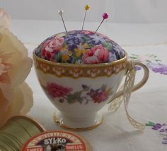 Vintage China Teacup Pin Cushion - sewing gift, pincushion, sewing accessory, gift for sewer, sewing accessories, gift for mum, mothers day