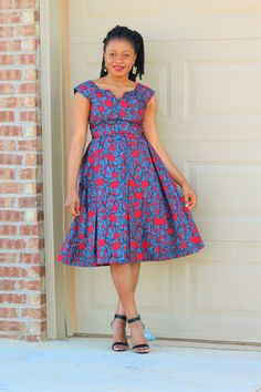 A beautiful statement African Print Ankara Dress Knee length dress ready to wear either with your favorable pair heels * Lined
