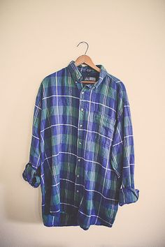 80's Plaid Flannel Navy Blue Forest Green Hipster Distressed Northwest Seattle Portland Style Preppy Size Men's Extra Large Tall Oversized