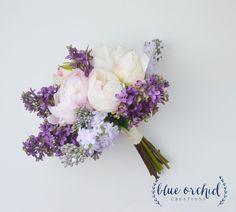 Wedding Bouquet - Lilac Bouquet, Peony Bouquet, Lavender, Silk Flowers, Silk…