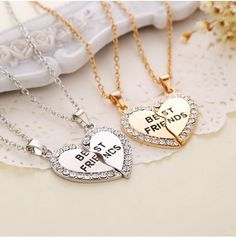 1.25$  Watch more here - Charming Splice Heart Pendant Best Friend Letter Necklace Women Gifts 2 Color Pick Jewelry Free Shipping   #buychinaproducts