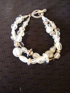 "8"" Double Strand clear glass bead and silver beaded bracelet on a silver toggle clasp. Free Shipping!"