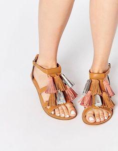 ASOS FELIXUS Mega Tassel Leather Sandals