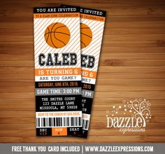 Printable Basketball Ticket Birthday Invitation | NBA Party | FREE thank you card included | Sports Ticket | Digital File | Boys Birthday Party Idea | Baby Shower Invitation | Matching Printable Party Package Decorations Available!  Banner | Cupcake Toppers | Favor Tag | Food and Drink Labels | Signs |  Candy Bar Wrapper | www.dazzleexpressions.com