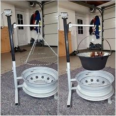 Fire pit made out of old car tire rims with interchangeable snap on grill or pot holder If you anticipate using smokeless fuel instead of wood (or a mix of the two) then you are going to require a multi fuel stove. So, wood sounded like a superior option Diy Fire Pit, Fire Pit Backyard, Backyard Seating, Backyard Pergola, Fire Pits, Backyard Landscaping, Backyard Ideas, Fire Cooking, Outdoor Cooking