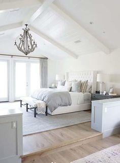 T & G – White painted ceiling - white bedroom furniture Master Bedroom Design, Home Decor Bedroom, Modern Bedroom, Trendy Bedroom, Master Bathroom, Bedroom Furniture, Master Bedrooms, Bathroom Wall, Cozy Master Bedroom Ideas