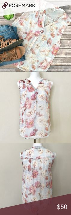 """Joie Sleeveless Silk Rose Print Blouse Beautiful 100% silk blouse from Joie.  Lovely pink roses with faint baby blue check print in the background.  Loose fitting.  Very Sheer.  Dry Clean Only.  In Great Condition!  Length=23"""" Bust=17.5"""" Joie Tops Blouses"""