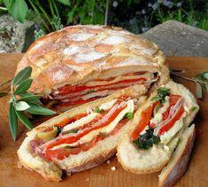 French Summer Picnic Sandwich ~ Pan Bagnat - Lavender and Lovage - Recipes Pan Bagnat, Best Sandwich, Sandwich Recipes, Picnic Recipes, Cake Recipes, French Sandwich, Sandwich Loaf, Paninis, French Picnic
