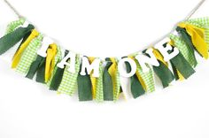 Green and gold birthday banner // For a Baylor-themed first birthday party! #SicEm