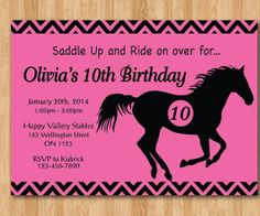 Horseback Riding Birthday Invitation. Girl Western by arthomer, $10.00